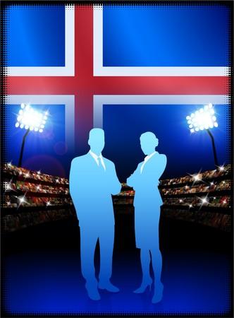 cheer leader: Iceland Flag with Business Couple on Stadium Background Original Illustration