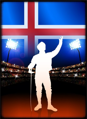 cross match: Iceland Flag with Fencing on Stadium Background Original Illustration Stock Photo