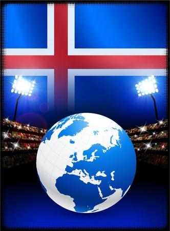 Iceland Flag with Globe on Stadium Background Original Illustration illustration