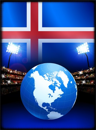 cross match: Iceland Flag with Globe on Stadium Background Original Illustration