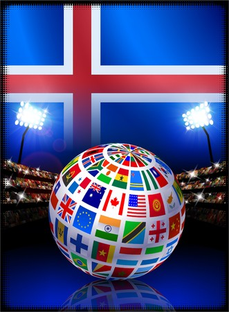 Iceland Flag with Globe on Stadium Background Original Illustration illustration