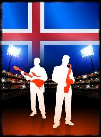flag of iceland: Bandera de Islandia con banda de m�sica en vivo el fondo Stadium Ilustraci�n original