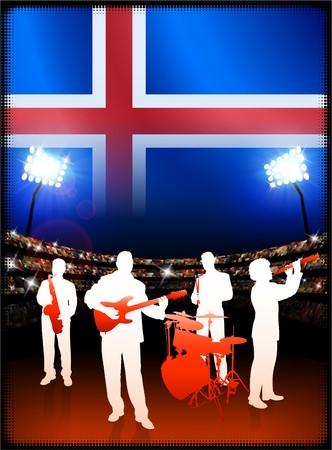 Iceland Flag with Live Music Band on Stadium Background Original Illustration