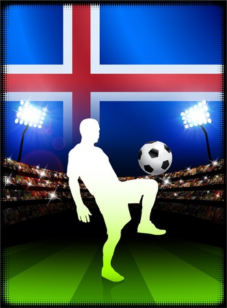 cross match: Iceland Flag with Soccer Player on Stadium Background Original Illustration Stock Photo