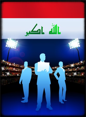 male symbol: Iraq Flag with Business Team on Stadium Background Original Illustration