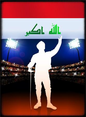 technique: Iraq Flag with Fencing on Stadium Background Original Illustration Stock Photo