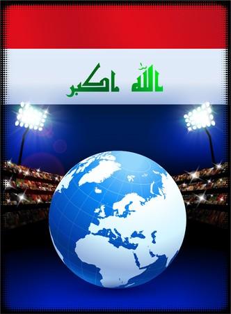 Iraq Flag with Globe on Stadium Background Original Illustration illustration
