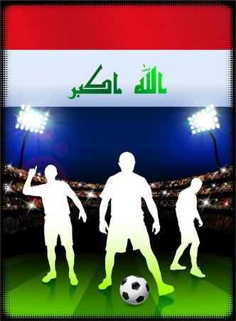 iraq: Iraq Flag with Soccer Player on Stadium Background Original Illustration
