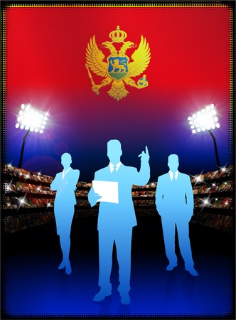 male symbol: Montenegro Flag with Business Team on Stadium Background Original Illustration Stock Photo