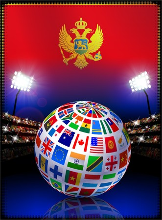 Montenegro Flag with Globe on Stadium Background Original Illustration illustration