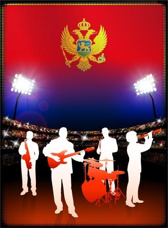Montenegro Flag with Live Music Band on Stadium Background Original Illustration