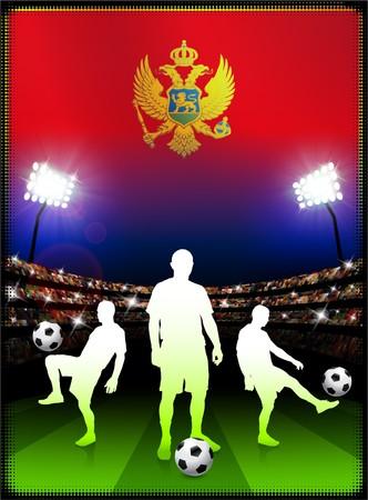 Montenegro Flag with Soccer Player on Stadium Background Original Illustration illustration
