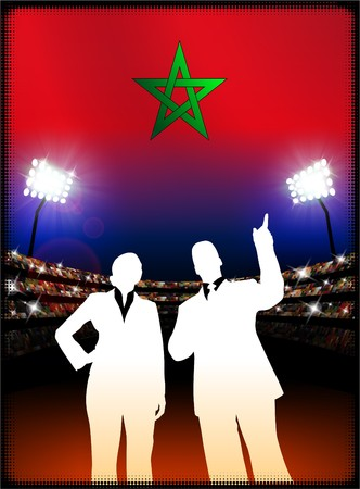 Morocco Flag with Business Couple on Stadium Background Original Illustration Stock fotó