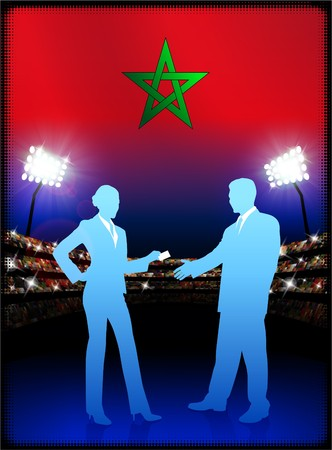 cheer leader: Morocco Flag with Business Couple on Stadium Background Original Illustration Stock Photo