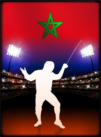 technique: Morocco Flag with Fencing on Stadium Background Original Illustration