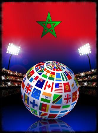 Morocco Flag with Globe on Stadium BackgroundOriginal Illustration Stock Illustration - 7458220