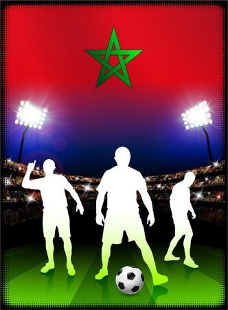Morocco Flag with Soccer Player on Stadium Background Original Illustration