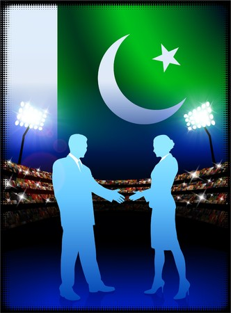 male symbol: Pakistan Flag with Business Couple on Stadium Background Original Illustration