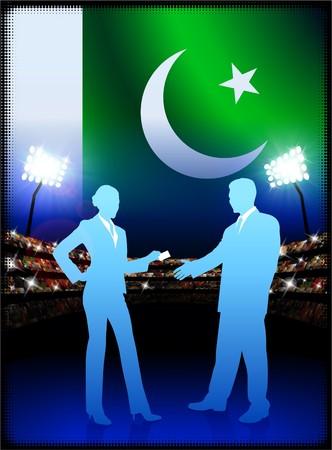 cheer leader: Pakistan Flag with Business Couple on Stadium Background Original Illustration