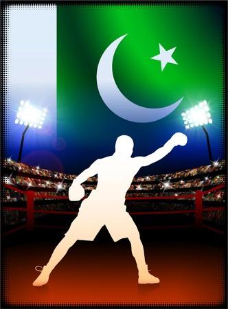 pakistan flag: Pakistan Flag with Boxer on Stadium Background Original Illustration