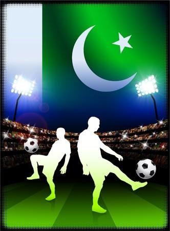 pakistan flag: Pakistan Flag with Soccer Player on Stadium Background Original Illustration Stock Photo