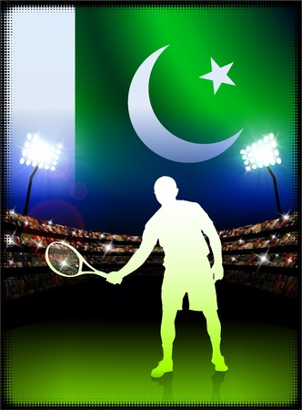 pakistan flag: Pakistan Flag with Tennis Player on Stadium Background Original Illustration
