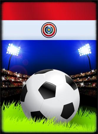 bandera de paraguay: Bandera de Paraguay con el Ball de f�tbol en el estadio de fondo Ilustraci�n original