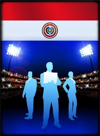 bandera de paraguay: Bandera de Paraguay con el equipo de negocios sobre fondo de estadio Ilustraci�n original