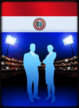 bandera de paraguay: Bandera de Paraguay con la pareja de negocios sobre fondo de estadio Ilustraci�n original