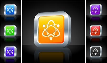Atom Icon on 3D Button with Metallic Rim Original Illustration Zdjęcie Seryjne