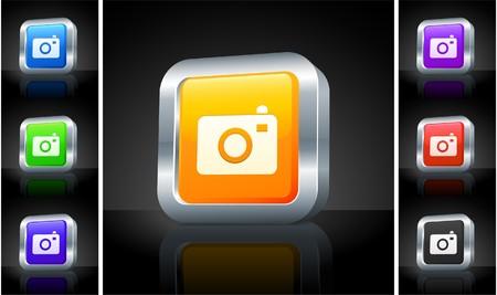 Camera Icon on 3D Button with Metallic Rim Original Illustration