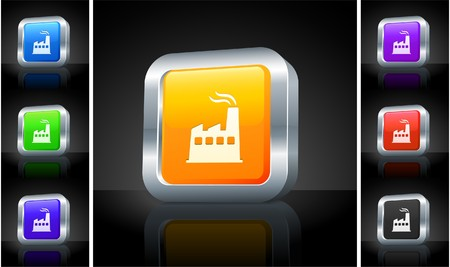 Factory Icon on 3D Button with Metallic Rim Original Illustration