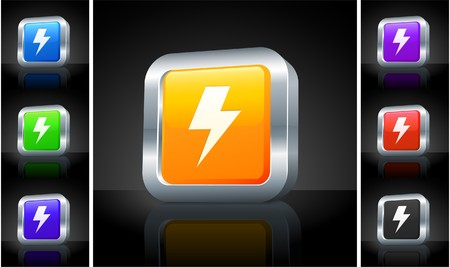 Lightening Icon on 3D Button with Metallic Rim Original Illustration Stock Photo