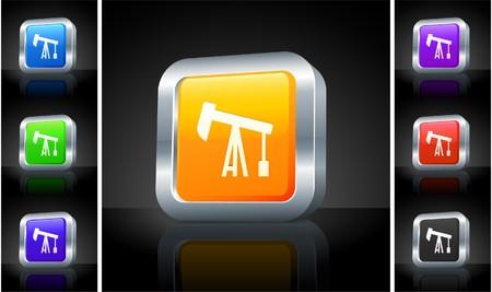Oil Drill Icon on 3D Button with Metallic Rim Original Illustration