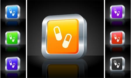 medecine: Medecine Pills Icon on 3D Button with Metallic Rim Original Illustration