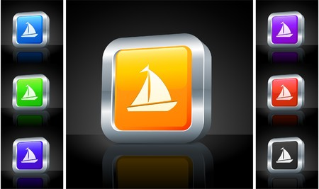 Sailboat Icon on 3D Button with Metallic Rim Original Illustration