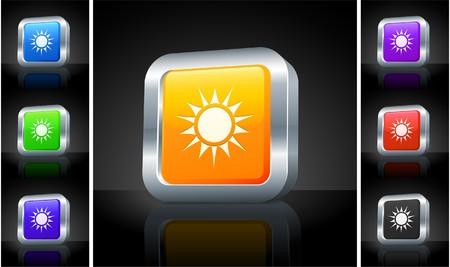 metallic  sun: Sun Icon on 3D Button with Metallic Rim Original Illustration