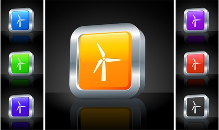 Wind Turbine Icon on 3D Button with Metallic Rim Original Illustration
