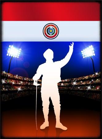 bandera de paraguay: Bandera de Paraguay con la esgrima en segundo plano del estadio Ilustraci�n original  Foto de archivo