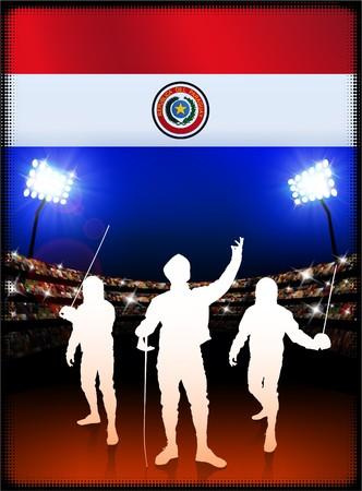 Paraguay flag: Bandera de Paraguay con la esgrima en segundo plano del estadio Ilustraci�n original  Foto de archivo