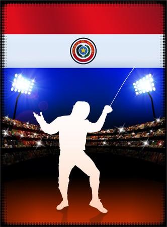 technique: Paraguay Flag with Fencing on Stadium Background Original Illustration Stock Photo