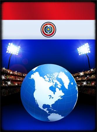 bandera de paraguay: Bandera de Paraguay con globo sobre fondo de estadio Ilustraci�n original  Foto de archivo