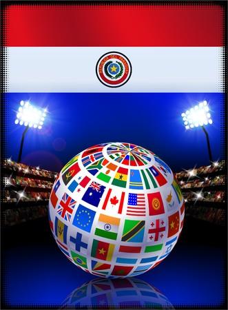 Paraguay Flag with Globe on Stadium Background Original Illustration illustration