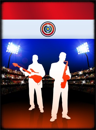 bandera de paraguay: Bandera de Paraguay con banda de m�sica en vivo por fondo de estadio Ilustraci�n original  Foto de archivo