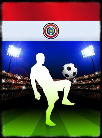 bandera de paraguay: Bandera de Paraguay con el reproductor de f�tbol en el estadio de fondo Ilustraci�n original  Foto de archivo