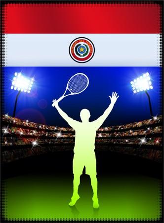 bandera de paraguay: Bandera de Paraguay con el tenista en segundo plano del estadio Ilustraci�n original