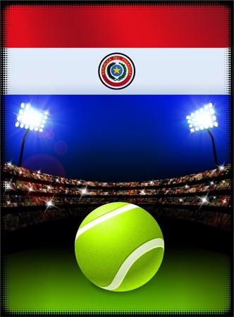 bandera de paraguay: Bandera de Paraguay con el Ball de tenis en segundo plano del estadio Ilustraci�n original