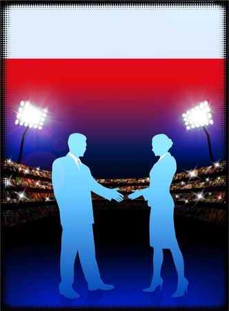 male symbol: Poland Flag with Business Couple on Stadium Background Original Illustration