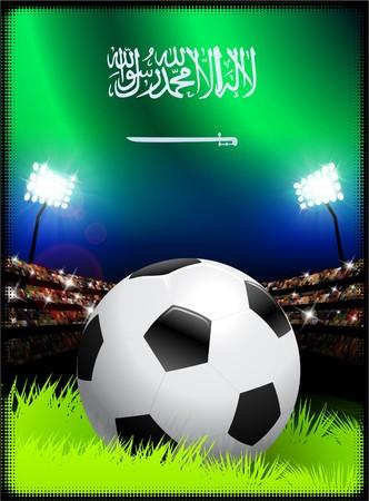 スタジアムの背景にサッカー ボールでサウジアラビアの国旗 オリジナル イラスト