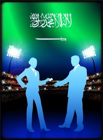 male symbol: Saudi Arabia Flag with Business Couple on Stadium Background Original Illustration